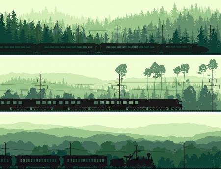 arboles de caricatura: Horizontales banderas abstractas: locomotora y el tren de alta velocidad en el fondo las colinas de la madera de coníferas en tono verde.