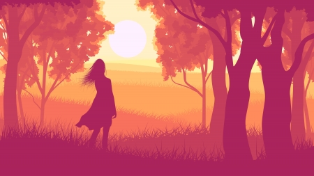 undergrowth: Vector illustration of tree trunks within wood with silhouette girl and meadow on edge of forest in sunset red tone.