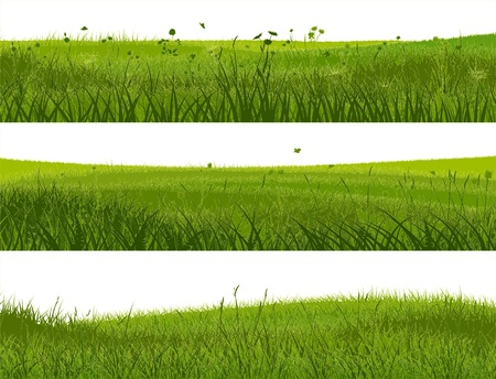 cartoon grass: Horizontal banners of abstract meadow grass in green tone.