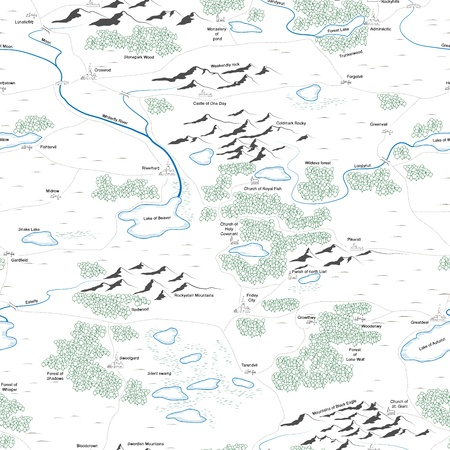 Seamless background of drawed map with forests, lakes, rivers, mountains, hills, cities with titles. Vector