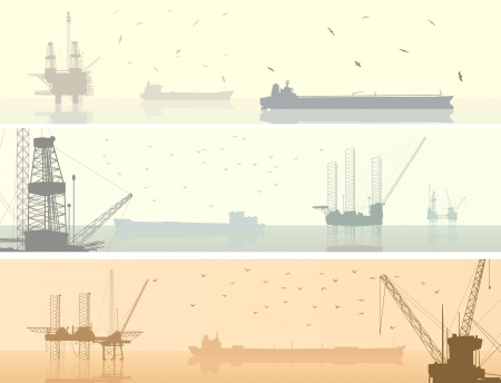 pastel tone: Horizontal banners of abstract oil offshore drilling platforms with tanker in pastel tone. Illustration