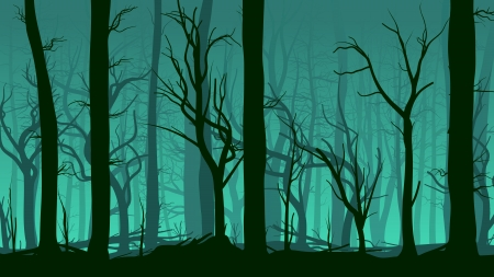 Vector horizontal illustration of tree trunks deadwood in dark green mist.