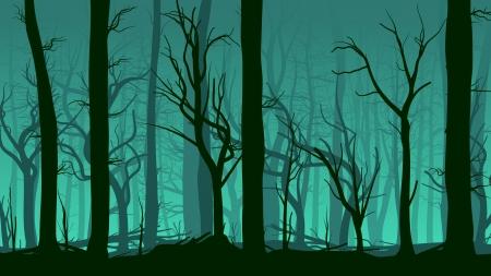 Vector horizontal illustration of tree trunks deadwood in dark green mist.