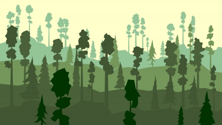 coniferous forest: Resumen de vectores de dibujos animados de los bosques de con�feras, con pinos en tono verde. Vectores