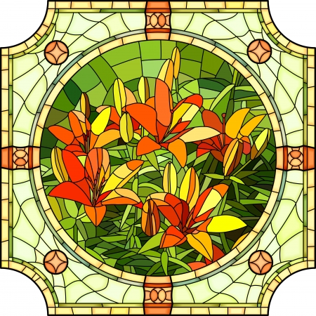 Vector mosaic with large cells of brightly red lilies with buds in round stained-glass window frame.