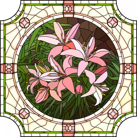stained glass: Vector mosaic with large cells of brightly pink lilies with buds in round stained-glass window frame.