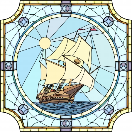 Vector mosaic with large cells of sailing ships of the 17th century in round stained-glass window frame. 일러스트