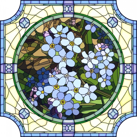 florescence: Vector mosaic with large cells of brightly blue forget-me-not with buds in round stained-glass window frame. Illustration