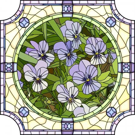 Mosaïque de vecteur à grandes cellules de pensées pourpres vives avec des bourgeons dans un cadre en vitrail rond Banque d'images - 22698187