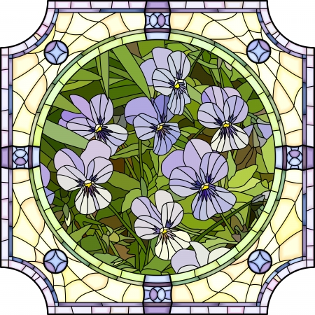 Vector mosaic with large cells of brightly purple pansies with buds in round stained-glass window frame