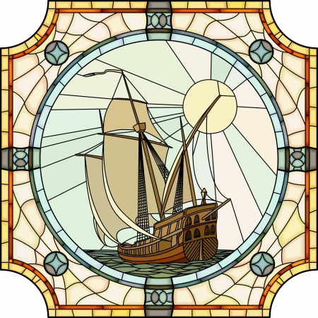 galleon: Vector mosaic with large cells of sailing ships of the 17th century in round stained-glass window frame  Illustration