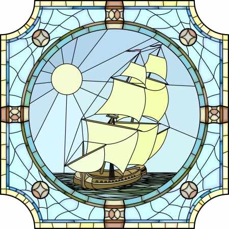 Vector mosaic with large cells of sailing ships of the 17th century in round stained-glass window frame  일러스트