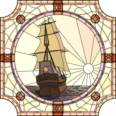 Vector mosaic with large cells of sailing ships of the 17th century at sunset in round stained-glass window frame  Stock Illustratie