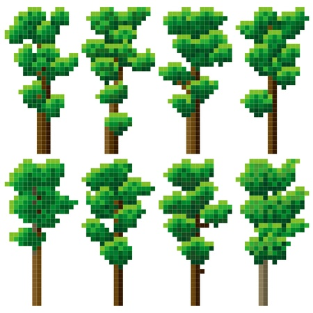 thicket: Set of simple green pixel high tree  pine  16x32 cells