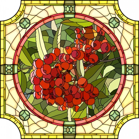 round window: Vector mosaic with large cells of brightly red berries of mountain ash in round stained-glass window frame