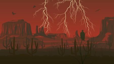 붉은 어둠 속에서 천둥 번개와 대초원 야생 서쪽의 수평 만화 그림.