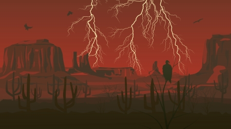 Horizontal cartoon illustration of prairie wild west with thunderstorm lightning in red dark.