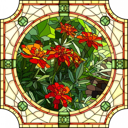 stained: Vector mosaic with large cells of brightly red marigold with buds in round stained-glass window frame.