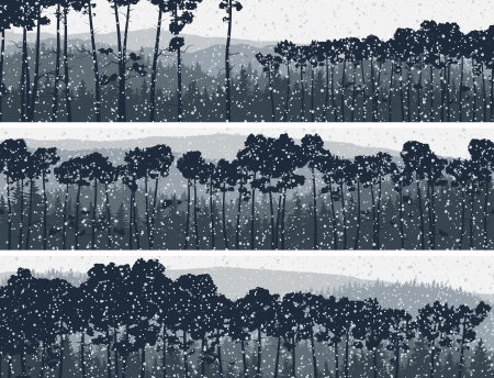 Horizontal abstract banners of winter snowfall in hills coniferous pinewood in dark blue tone. Illustration