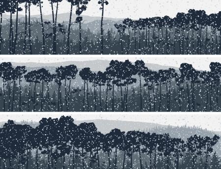 misty forest: Resumen banners horizontales de las nevadas de invierno en las colinas de con�feras de pino en tono azul oscuro. Vectores