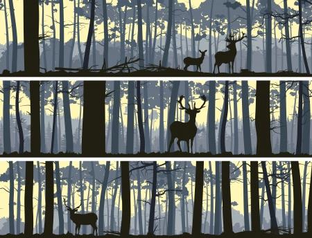 Resumen banners horizontales de ciervos salvajes en el bosque con troncos de árboles.