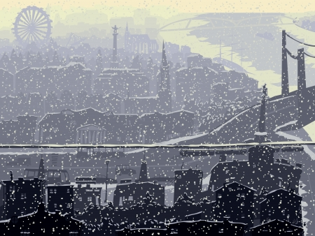Vector abstract illustration of big winter city with snowy roofs and windows. Illustration