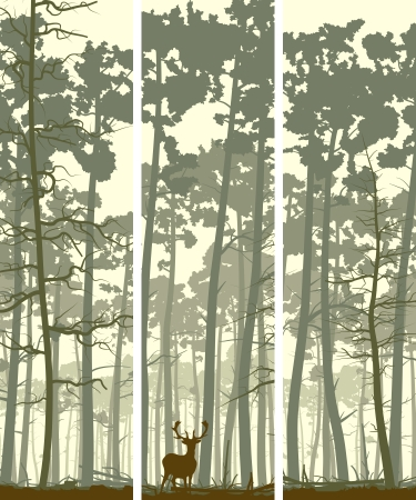 Vertical abstract banners of wild deer in forest with trunks of pine trees.