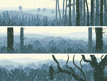 misty forest: Resumen banners horizontales de las nevadas de invierno en el bosque de colinas en tono azul.