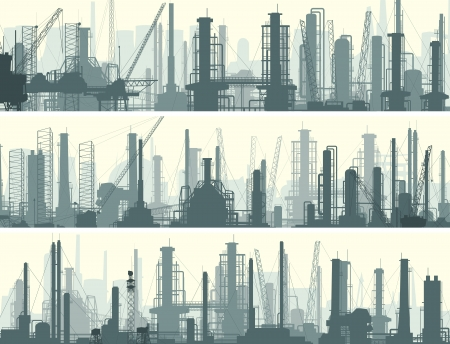 Vector horizontal banner: industrial part of city with factories, refineries and power plants.