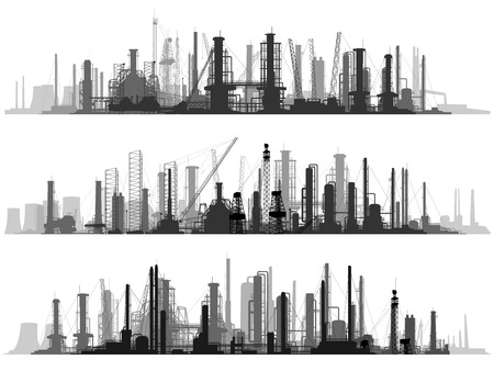 Vector set of horizontal illustration: industrial part of city with factories, refineries and power plants.
