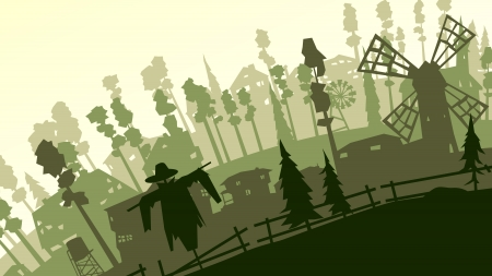 Vector abstract cartoon farm with mill, scarecrow, fence, pines in green tone.