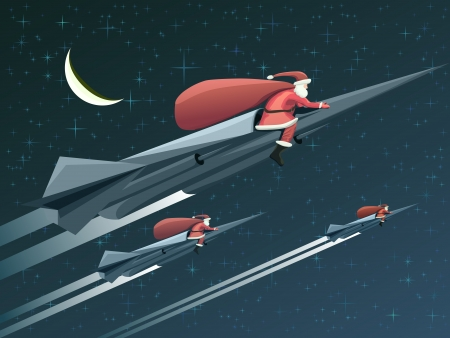 Vector illustration for Christmas card many Santa Claus with gifts on rockets starry night.