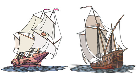 barque: Vector set color artistic illustrations for icons, sailing ships of the 17th century.