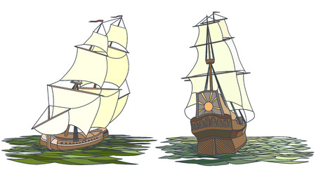 keel: Vector set color artistic illustrations for icons, sailing ships of the 17th century.