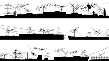テレビ アンテナ (アンテナ) で屋根のシルエットを設定します。