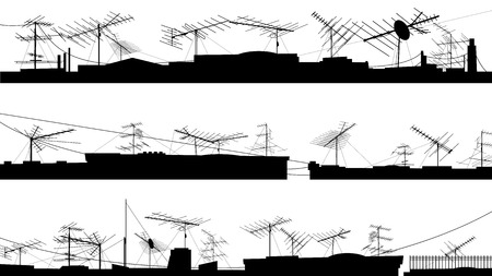 airwaves: Set silhouettes of roofs with television aerials (antenna).