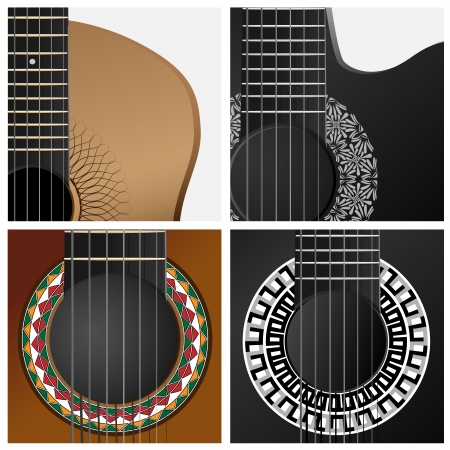 classical guitar:  set square icons with part of western, jazz, flamenco, acoustic guitar.