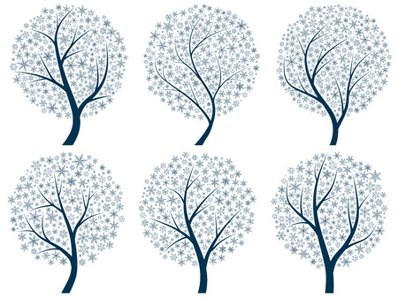 Set abstract vector stylized illustration of trees with snowflakes instead of leaves. Vector