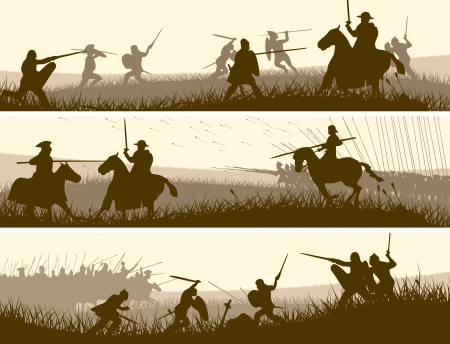 cavalry: Horizontal vector banners of battle fighting swordsmen, spearmen and cavalry in the battle field.