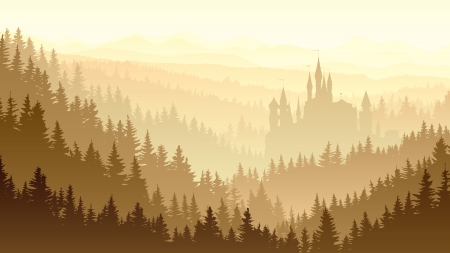 illustration of coniferous forest in morning fog with fairytale . Vector