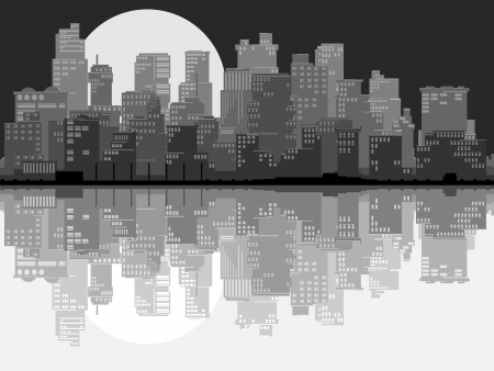Vector abstract card of stylized big city with downtown and skyscrapers at moonlit night with daylight reflection in black and white tone. Vector