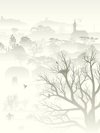 Vertical illustration of wood valley, morning fog with nest in tree and birds pale tone.