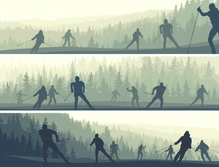 misty forest: Horizontal abstract banners skiers in misty hills of coniferous forest (green tone).
