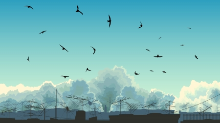 Vector illustration of blue sky with clouds and birds over roofs with television aerials (antenna). Vector