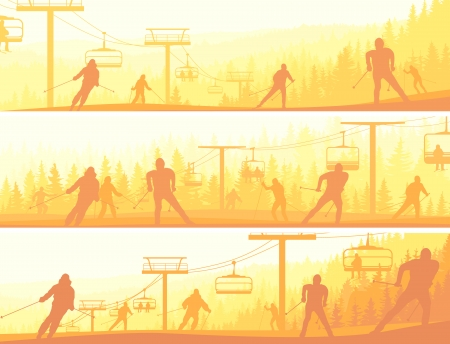 for�t r�sineux: R�sum� des banni�res horizontales skieurs dans les collines de la for�t de conif�res au coucher du soleil (tonalit� jaune). Illustration