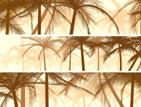 Horizontal abstract banners of silhouettes of beach large palms.