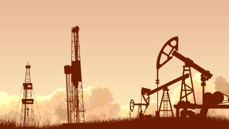 Horizontal abstract illustration of sunset sky with silhouettes of units for oil industry (oil pump). Ilustração