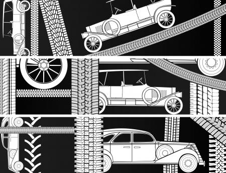 traces pneus: Vecteur vieux banni�res horizontales noires et blanches voiture vintage avec des traces de pneus et de l'espace pour le texte. Illustration