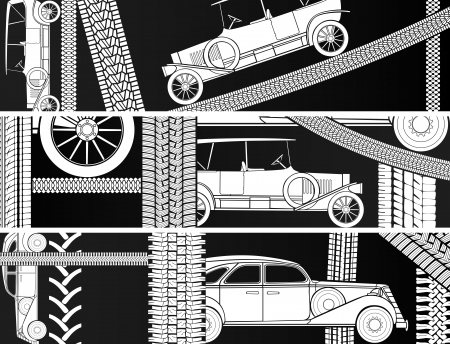 Vector horizontal black and white banners old vintage car with tire tracks and space for text. Stock Vector - 23857770