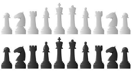 chess knight: Conjunto de vectores negro y piezas de ajedrez blanco.